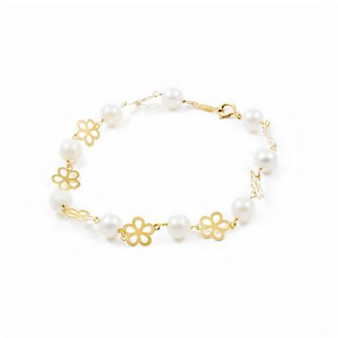 159c3d6268ab Pulsera Oro 18k niña perlas margarita - Joyería Toledo