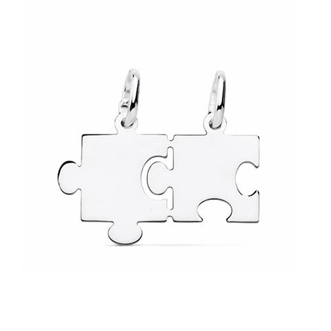 Colgante plata puzzle