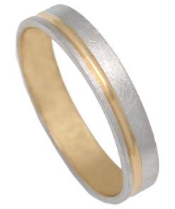 Alianza bicolor en Oro de 18 Kl 4mm